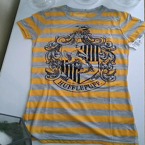 d5105c96 Tops   Yellow And Gray Striped Hufflepuff Crest T Shirt   Poshmark